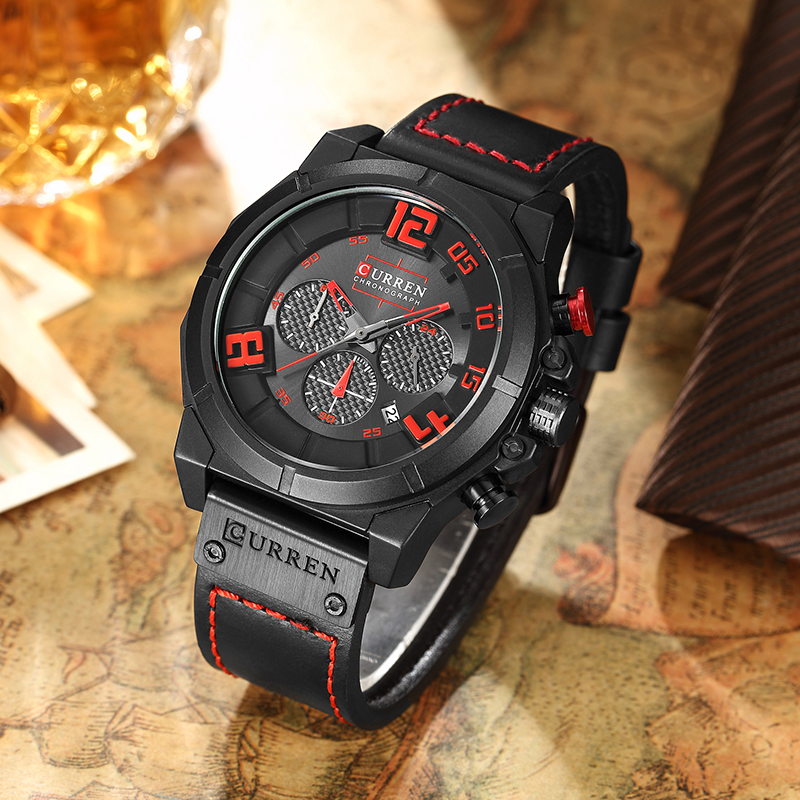 CURREN-8287-Mens-Chronograph-Zegarki-Top-Marka-Luksusowe-zegarki-Kwarcowe-M-czy-ni-24-Godzina-Data