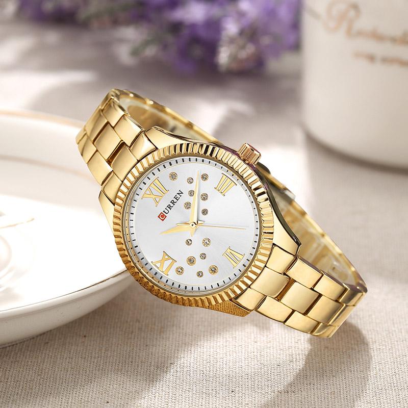 CURREN-9009-Watch-Women-Ladies-Quartz-Watches-Crystal-Design-Wristwatch-Relogio-Feminino